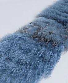 Fur tricot knitted stole Dusty Blue Woman AA8P9D-02