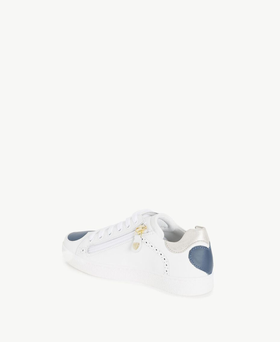 "Heart sneakers Two-tone ""Papyrus"" White / Ocean Blue Child HS88C1-03"