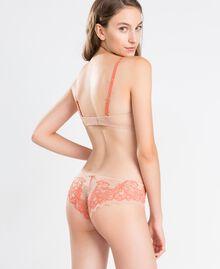 """Two-tone lace balconette Bicolour """"Citrouille"""" Orange / Pink Woman LA8C33-03"""