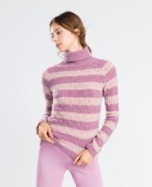 Pull en laine mélangée rayée Bicolore Rose Léger/ Rose Baroque Femme LA8PCC-0S