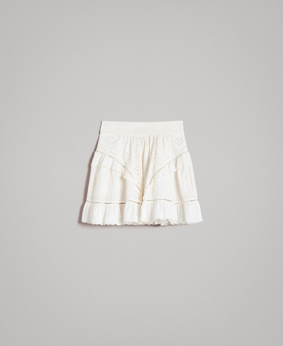 Minijupe évasée avec broderie anglaise Blanc Neige Femme 191TT2046-0S