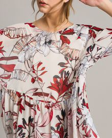 Floral print georgette tunic dress Exotic Ecru Print Woman 191ST2222-04