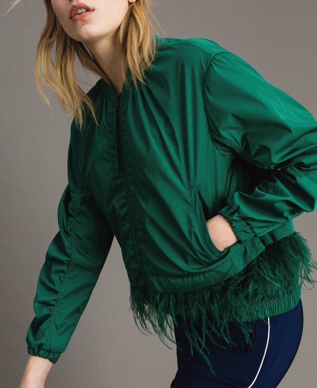 Technical fabric bomber jacket with feathers Evergreen Green Woman 191TP2011-01