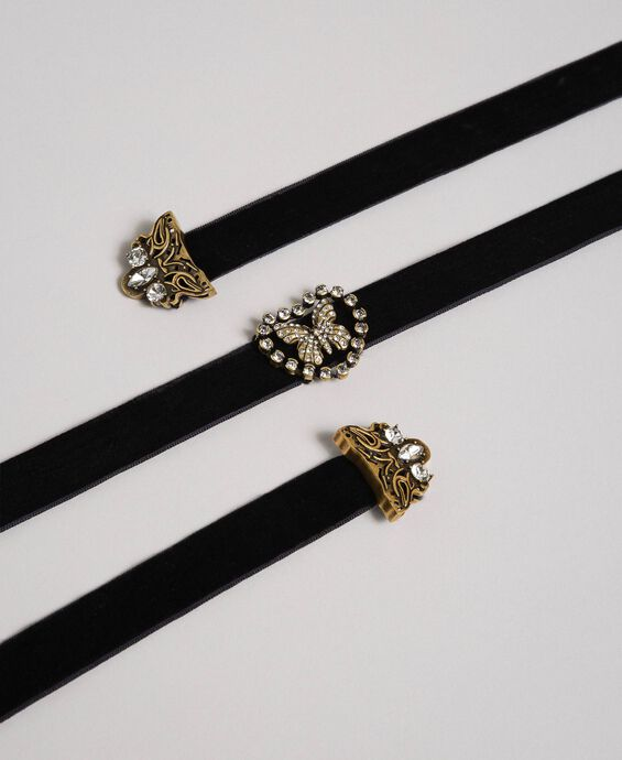Velvet choker with heart and butterfly