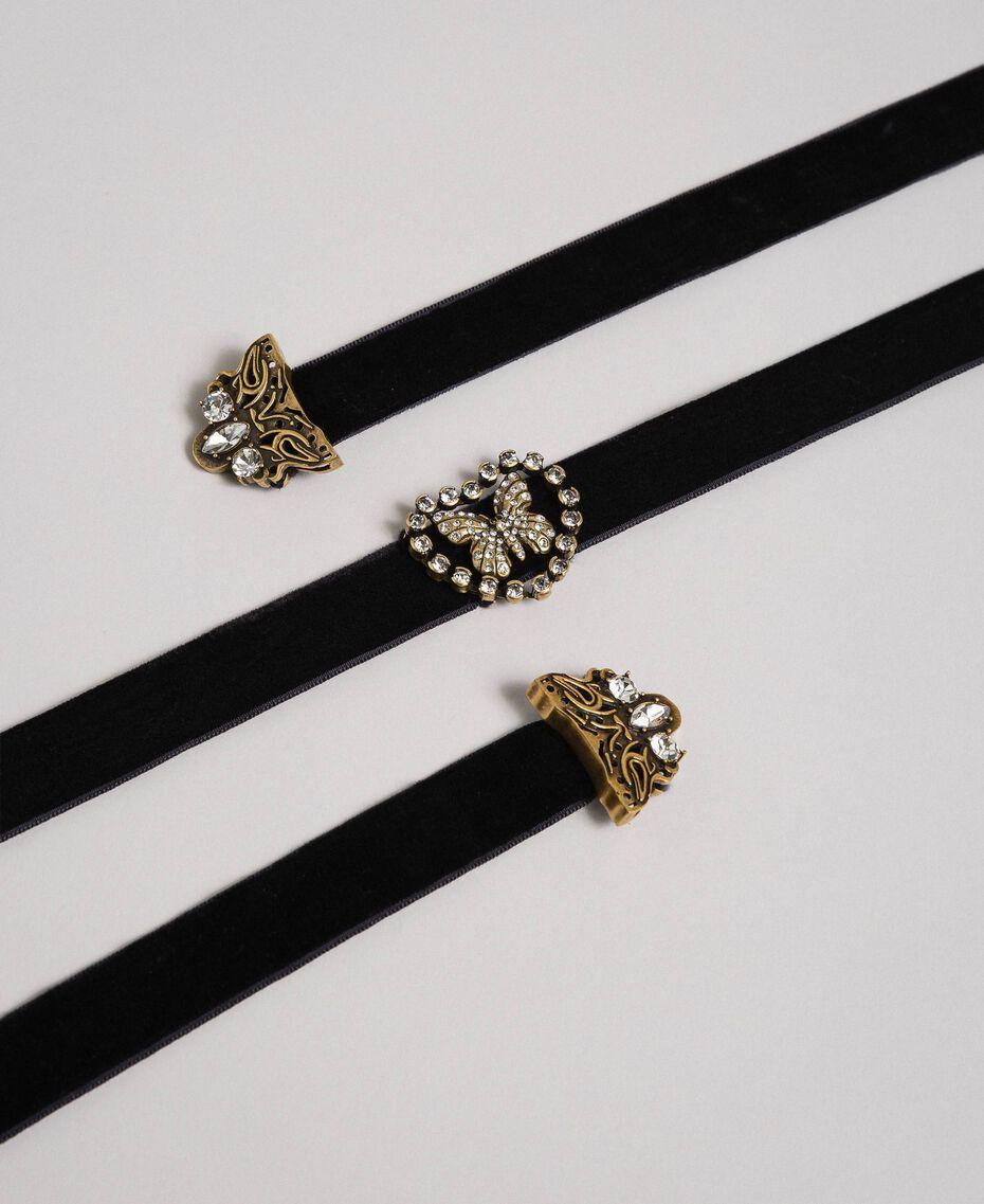 Collier ras-du-cou en velours avec cœur et papillon Noir Femme 192TO530E-01