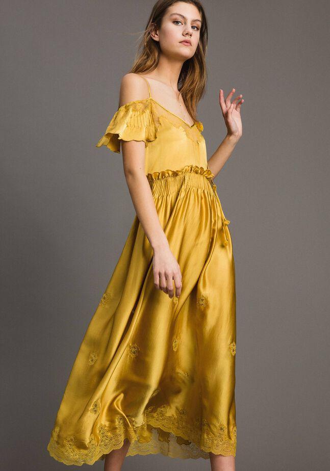 Silk satin long dress with lace trims