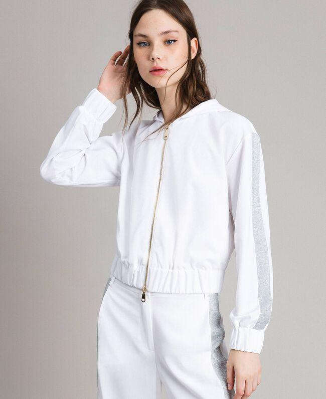 Sweatshirt with hood and zip White Woman 191LL25CC-01