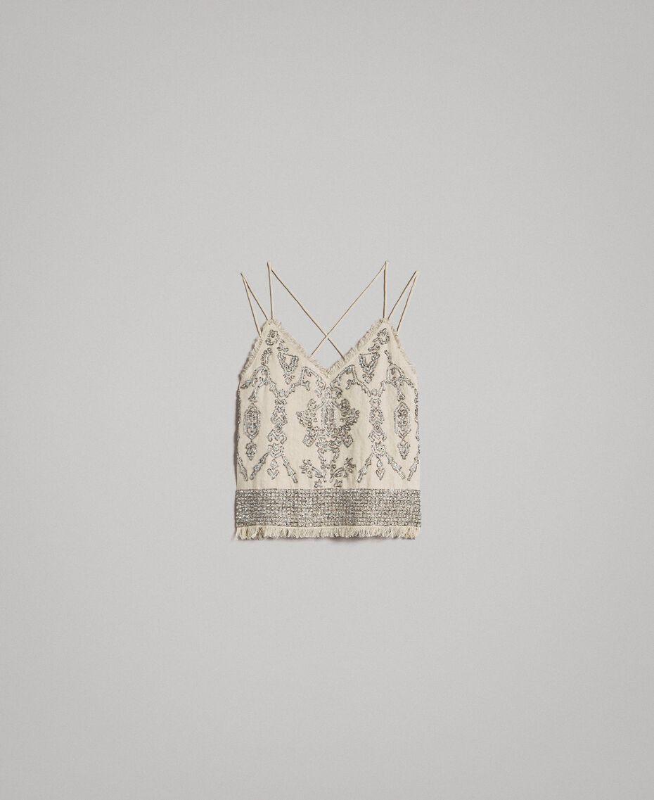 """Top en lin orné de perles et de sequins Beige """"Sable"""" Femme 191TT2062-0S"""