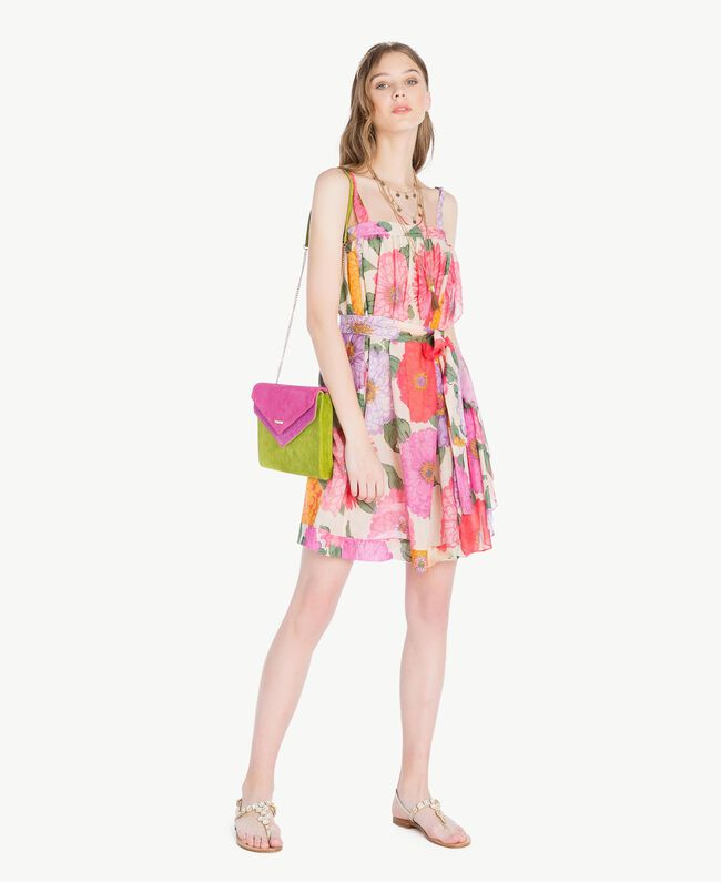 TWINSET Double flap shoulder bag Multicolour Kiwi / Provocateur Pink / Fuchsia Woman OS8TDP-05
