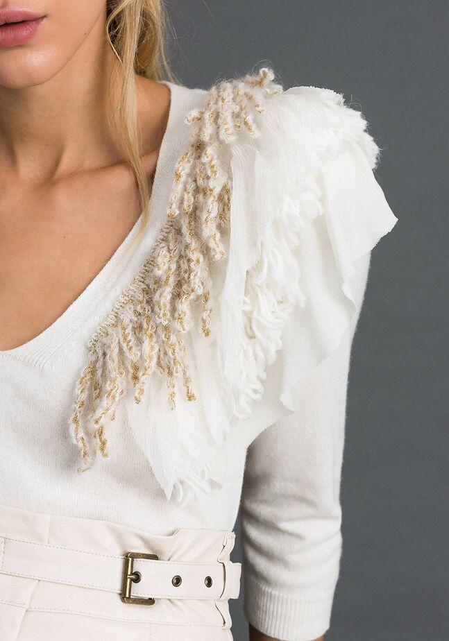 Jersey de cachemira mixta con flecos