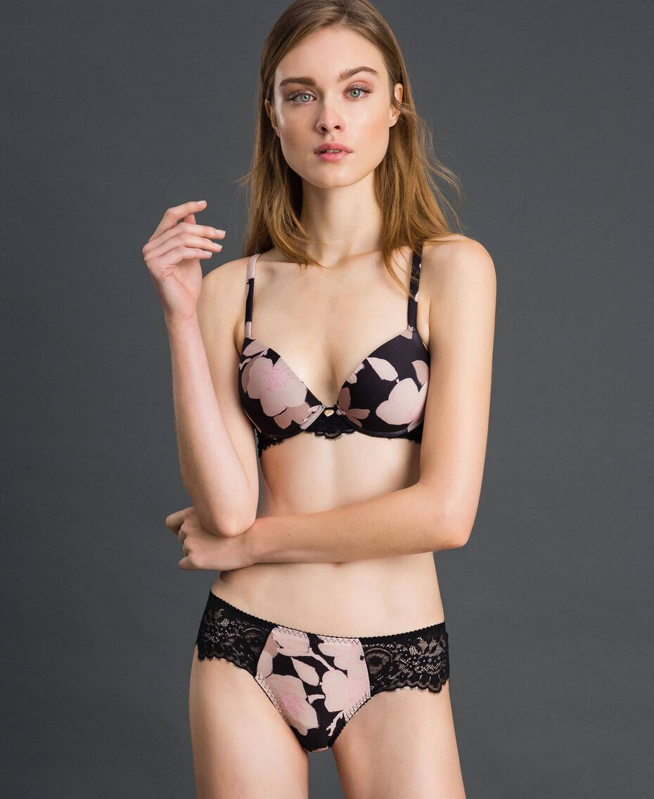 Floral print Brazilian briefs with lace Black Floral Print Woman 192LL6K77-01