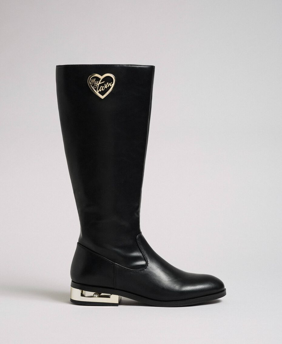 Logo boots with decorative heel Black Woman 192MCP022-02