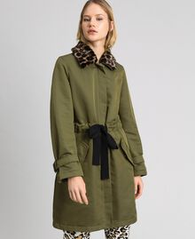 Technical satin coat with animal print collar Green Vetiver Woman 192MP2121-02