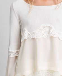 Jumper with georgette and lace Black Woman 192TT3082-04