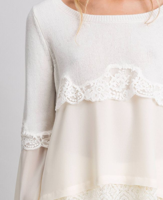 Jumper with georgette and lace White Snow Woman 192TT3082-04
