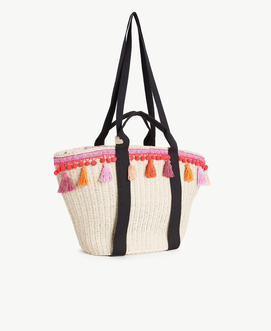 TWINSET Straw bag Multicolour Provocateur Pink / Orange / Black Woman OS8THB-02