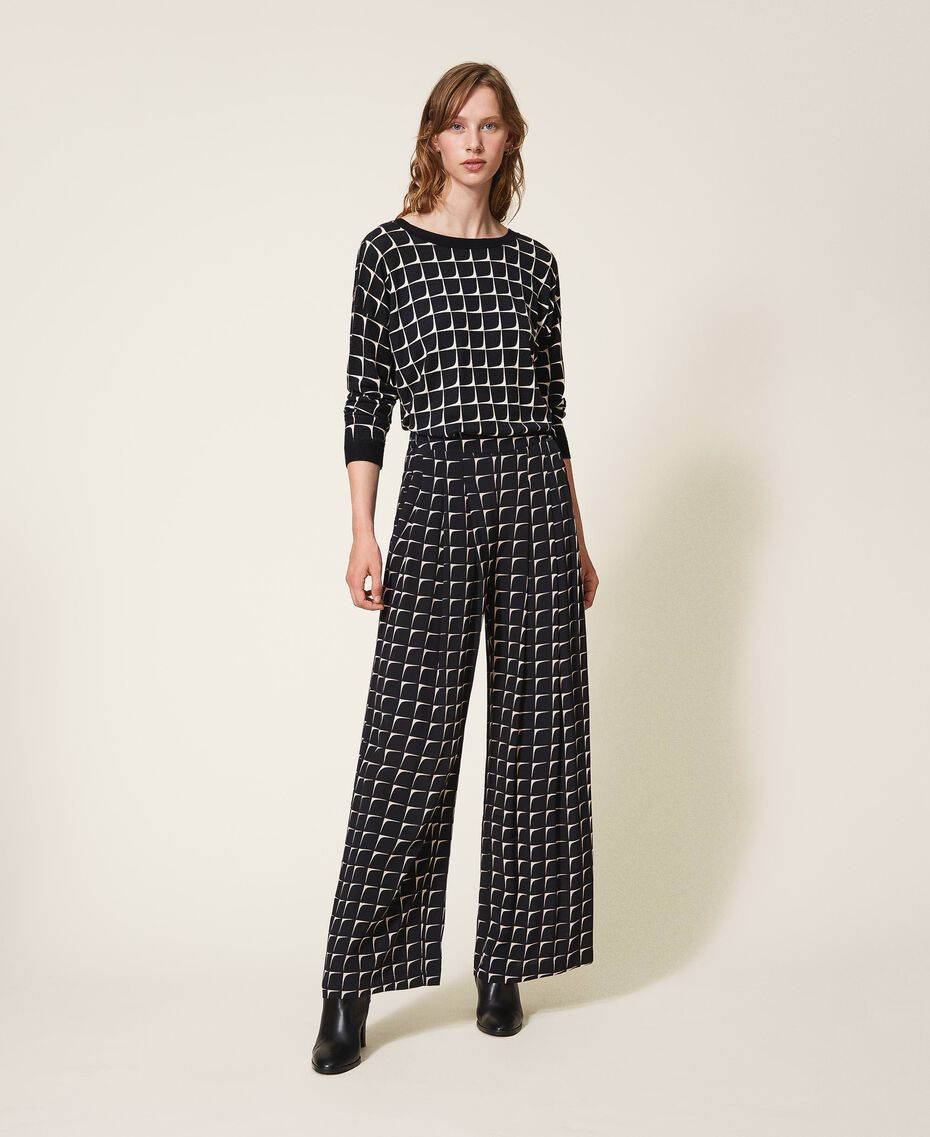 "Printed crêpe de Chine palazzo trousers Black /""Nude"" Beige Optical Print Woman 202ST2508-01"