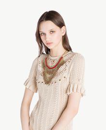 Halskette mit Perlen Multicolor Rubin / Gold Frau OS8T51-05