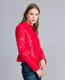 Faux leather biker jacket Poppy Red Woman JA82DG-02