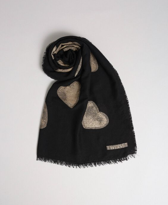 Fringed scarf with jacquard hearts