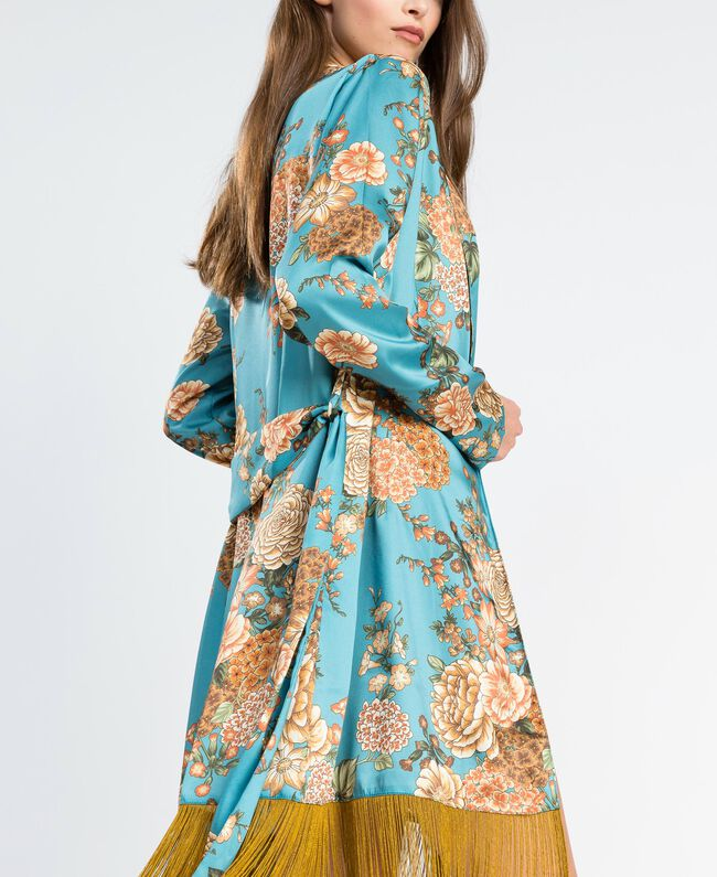"Floral print twill dressing gown ""Blue Melancholia"" Flower Light Blue Print Woman LA8KRR-04"
