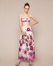 Printed satin skirt-dress Flirty Rose Unevenly Dyed Print Woman 201LB2GLL-01