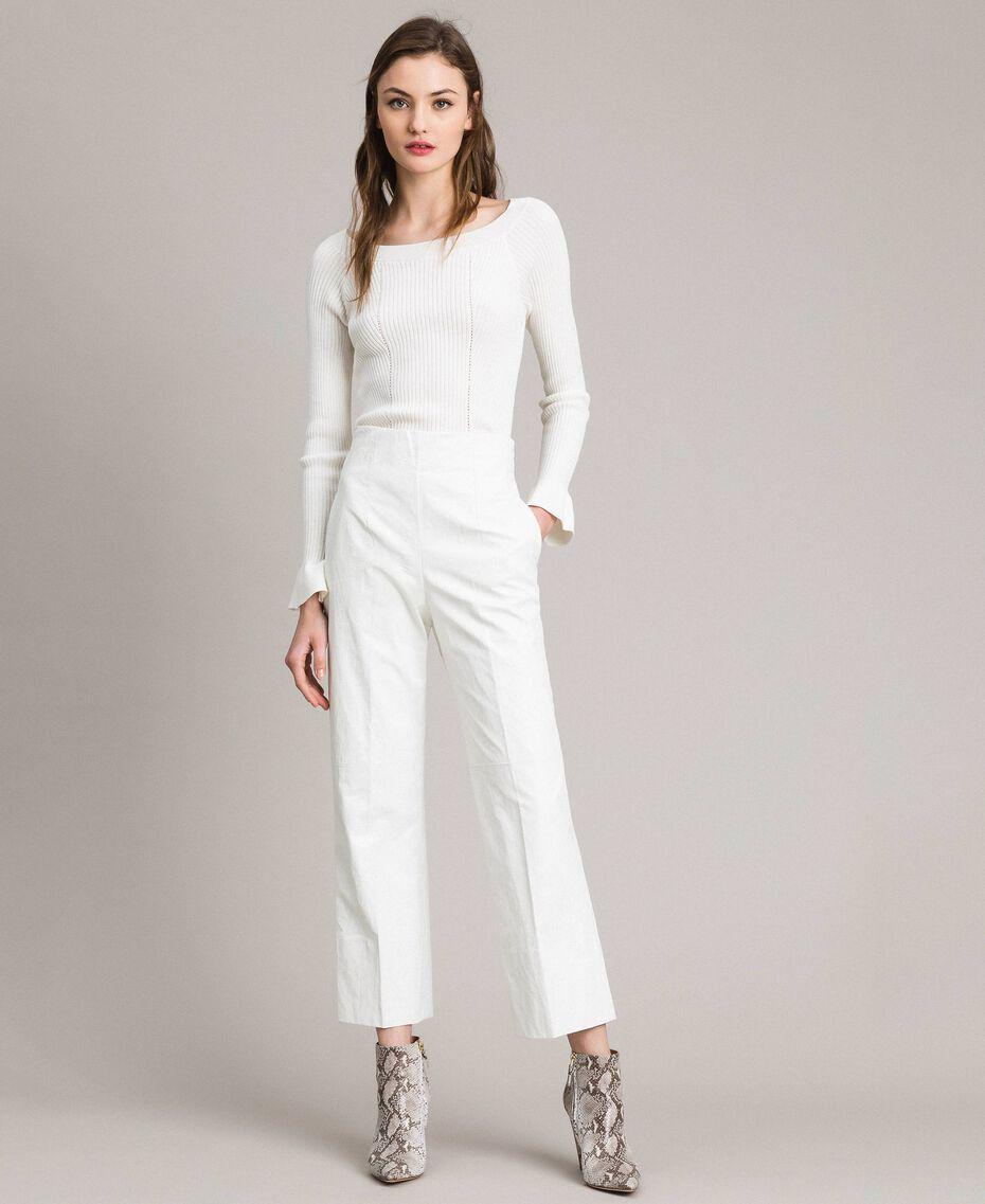 Pantalon en similicuir Blanc Femme 191TP2550-02
