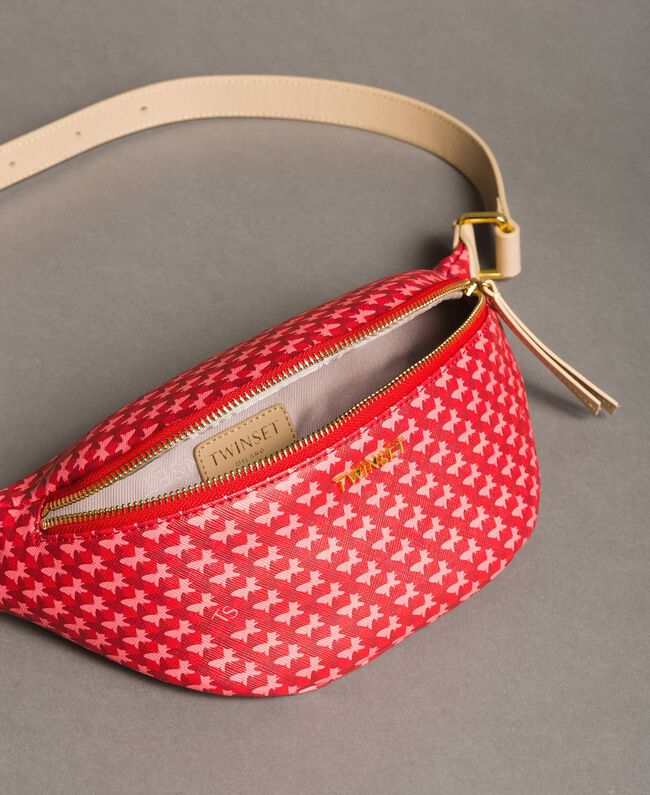 "Butterfly print bum bag ""Ruby"" Red Butterflies Print Woman 191TO8211-04"