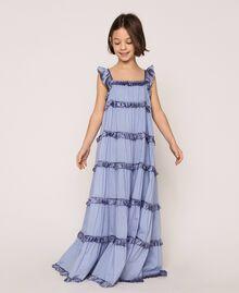 "Full-length muslin and satin gown ""Ice"" Dark Blue Child 201GJ2Q40-01"