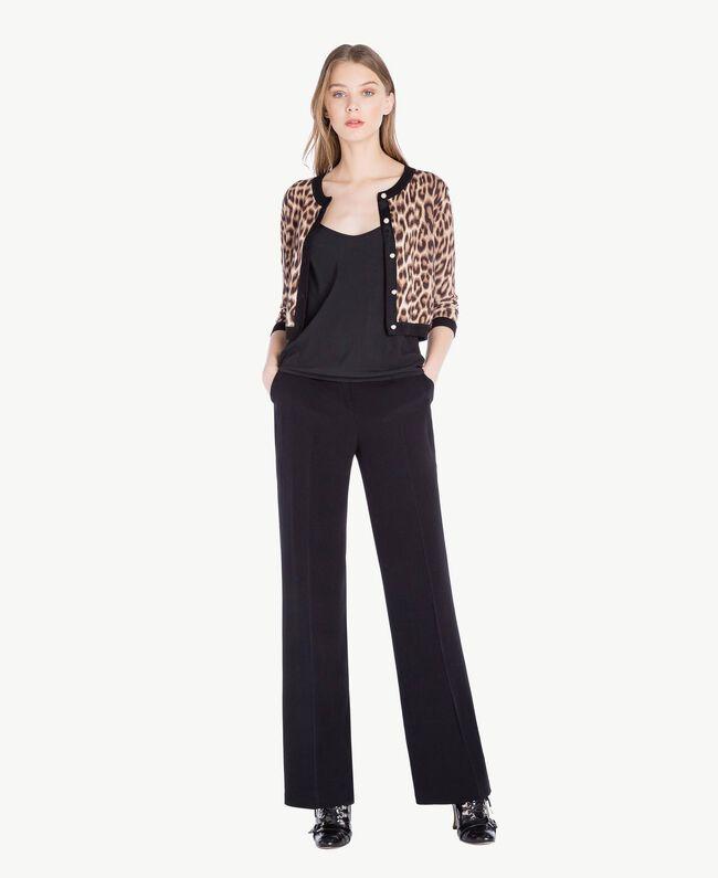 Jacke mit Perlen Leopardenprint Frau PS83LD-05