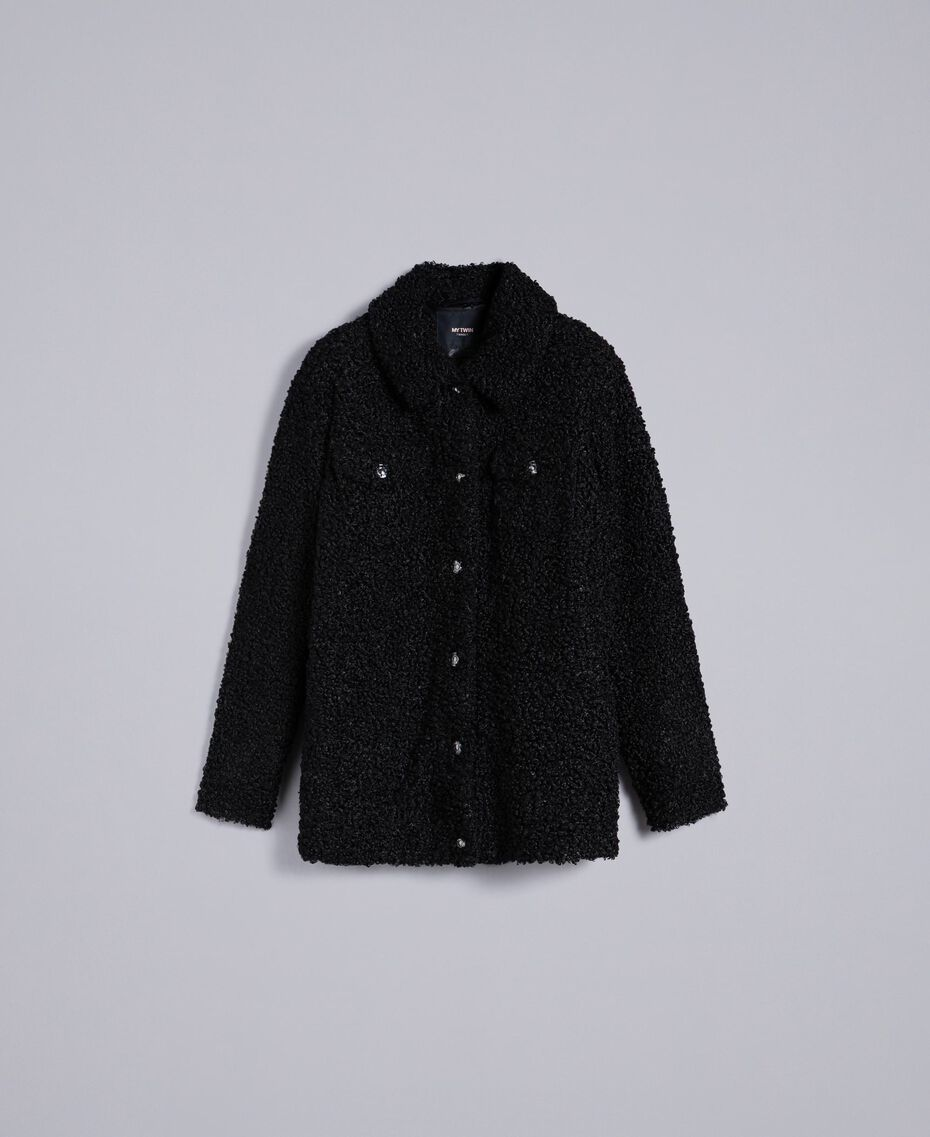 Faux lamb fur peacoat Black Woman JA82KG-0S
