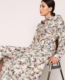 "Long floral shirt dress ""Quartz"" Pink Flowered Print Woman 201MP2371-04"
