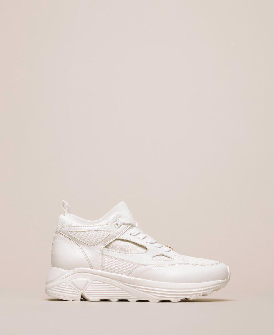 Sneakers aus Lederimitat und Gestrick Elfenbein Frau 201LLPZBB-03