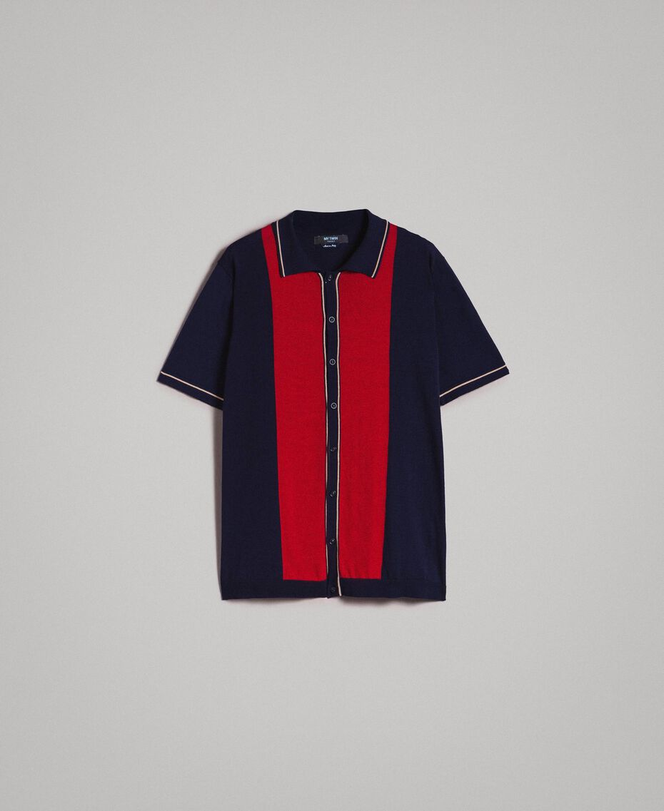 "Crêpe cotton polo shirt with inlay pattern Multicolour ""Blackout"" Blue / ""Dark Raspberry"" Red / Beige Porcelain Man 191UT3021-0S"