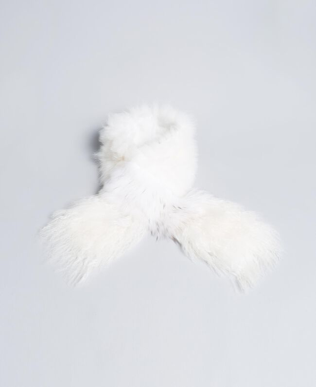 Fur tricot knitted stole White Snow Woman AA8P9D-01