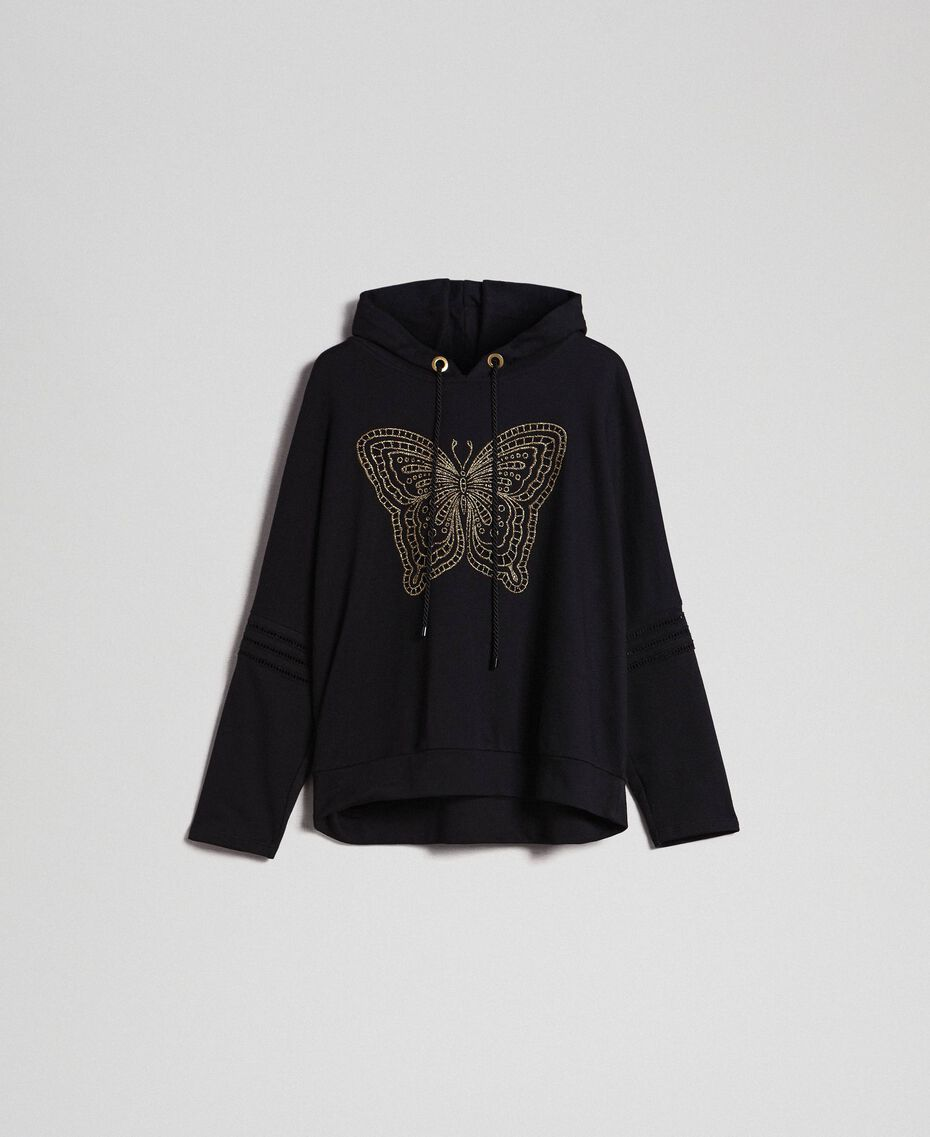 Butterfly embroidery sweatshirt Black Woman 192TT2133-0S