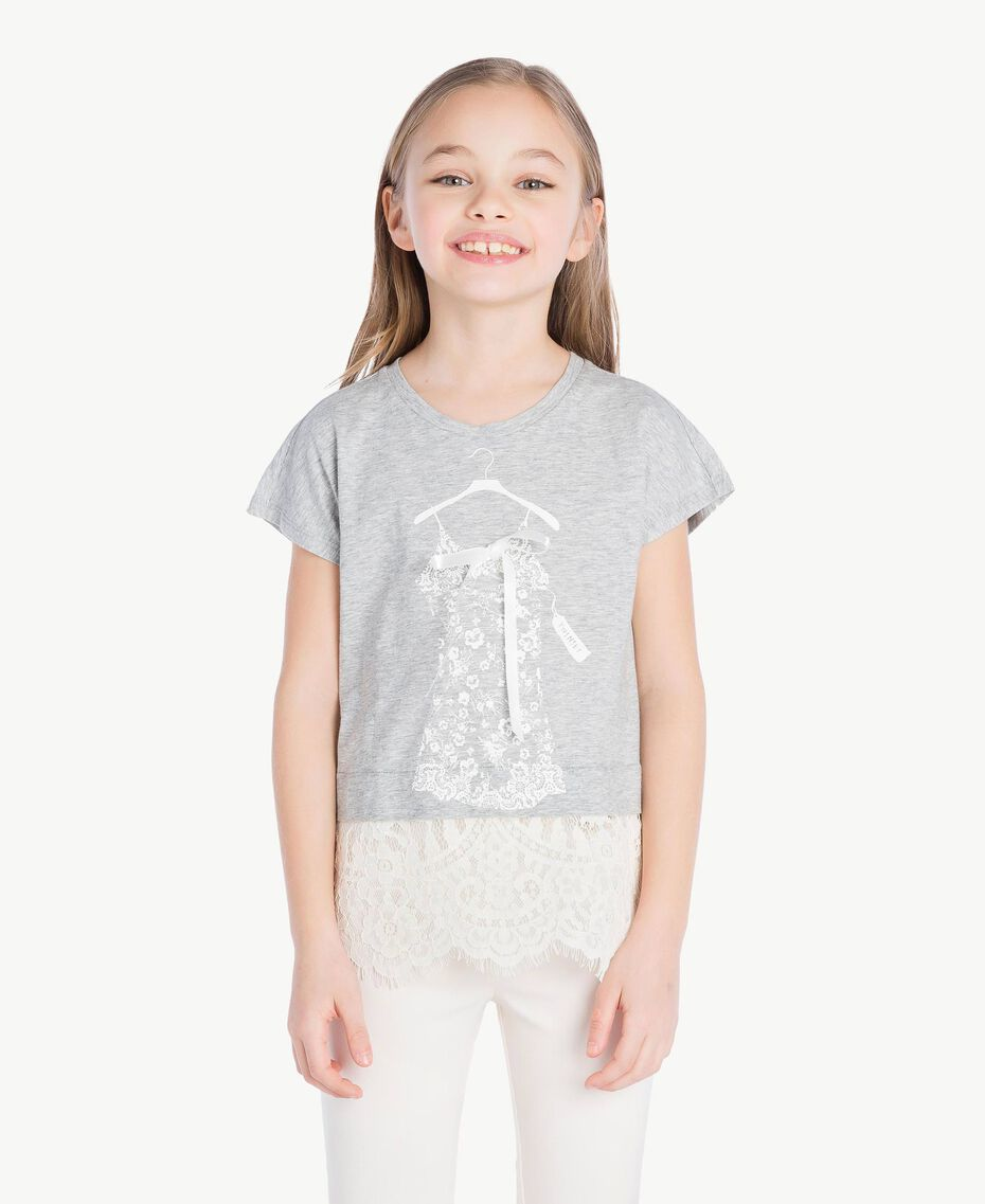 Lace T-shirt Two-tone Mid Melange Grey / Chantilly Child GS82XG-02