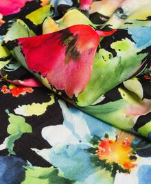Floral print cotton and wool scarf Black Garden Print Woman 191TO530H-02