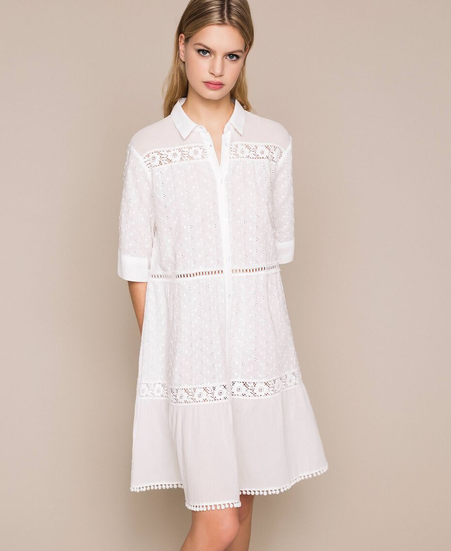 Broderie anglaise shirt dress with lace White Woman 201LM2LCC-01
