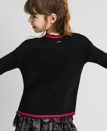"Wool blend jumper with rose inlay Black / ""Candy"" Fuchsia Child 192GJ3020-04"