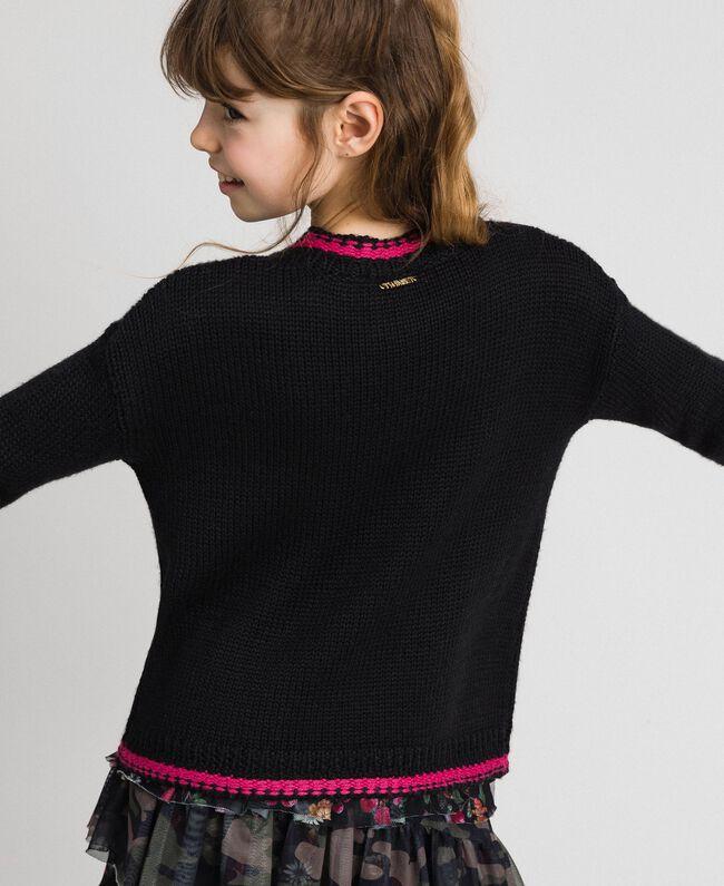 """Maglia in misto lana con intarsio di rose Nero / Fuxia """"Caramella"""" Bambina 192GJ3020-04"""