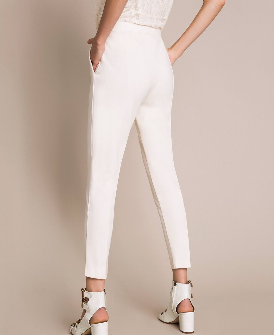 """Cigarette trousers with pockets """"Silk"""" White Woman 201ST2055-03"""