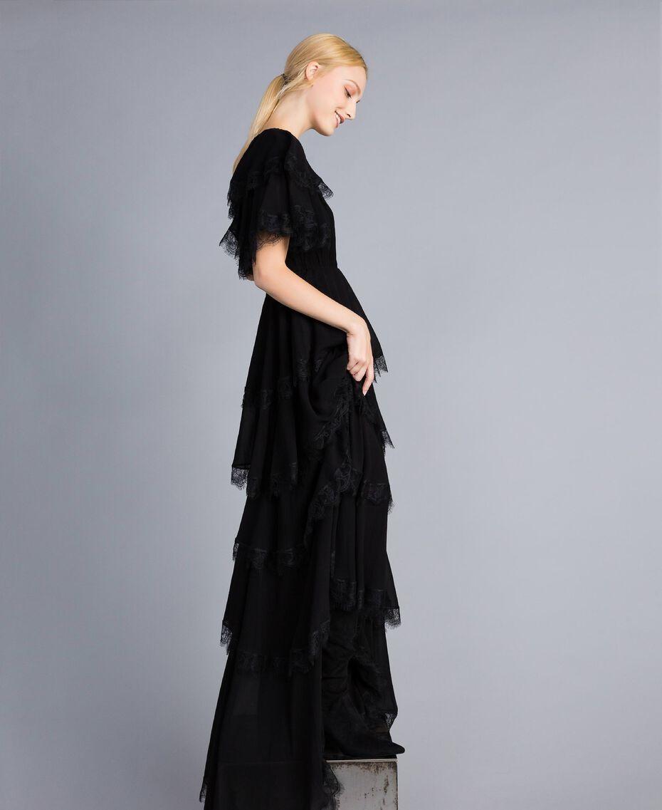 Robe longue en crêpe georgette volanté Noir Femme TA828E-06