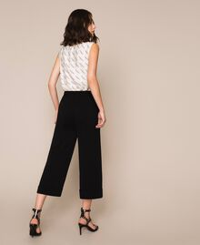 Wide georgette trousers Black Woman 201TP202C-03