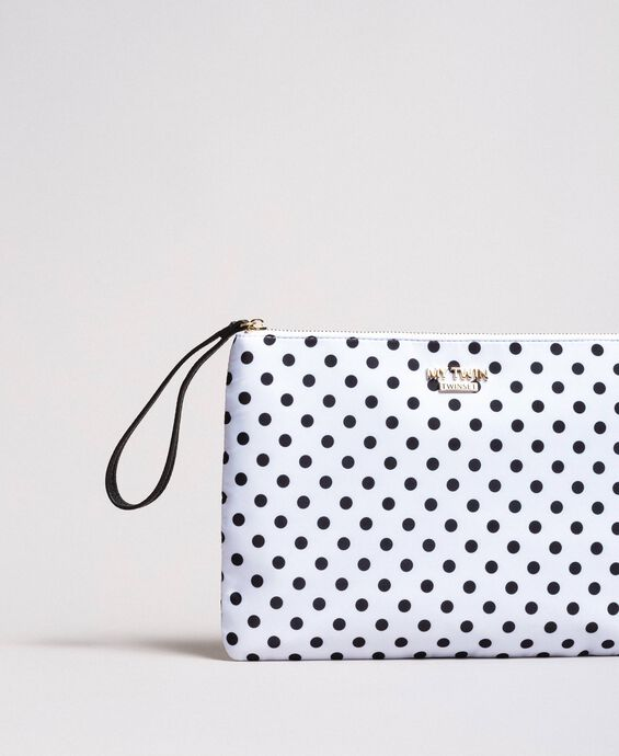Technical fabric polka dot clutch bag
