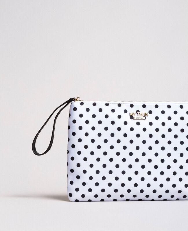 Pochette en tissu technique à pois Imprimé À Pois Blanc / Noir Femme 191MA7123-01