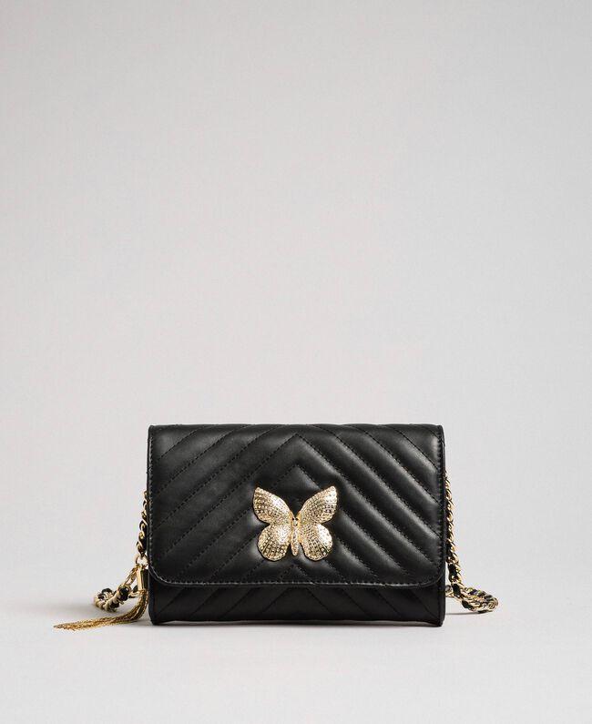 Petit sac à bandoulière en cuir matelassé Noir Femme 192TA7106-04