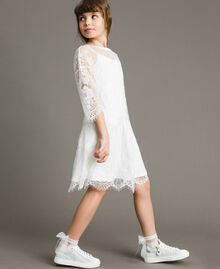 Jersey dress and lace blouse Off White Child 191GJ2740-02
