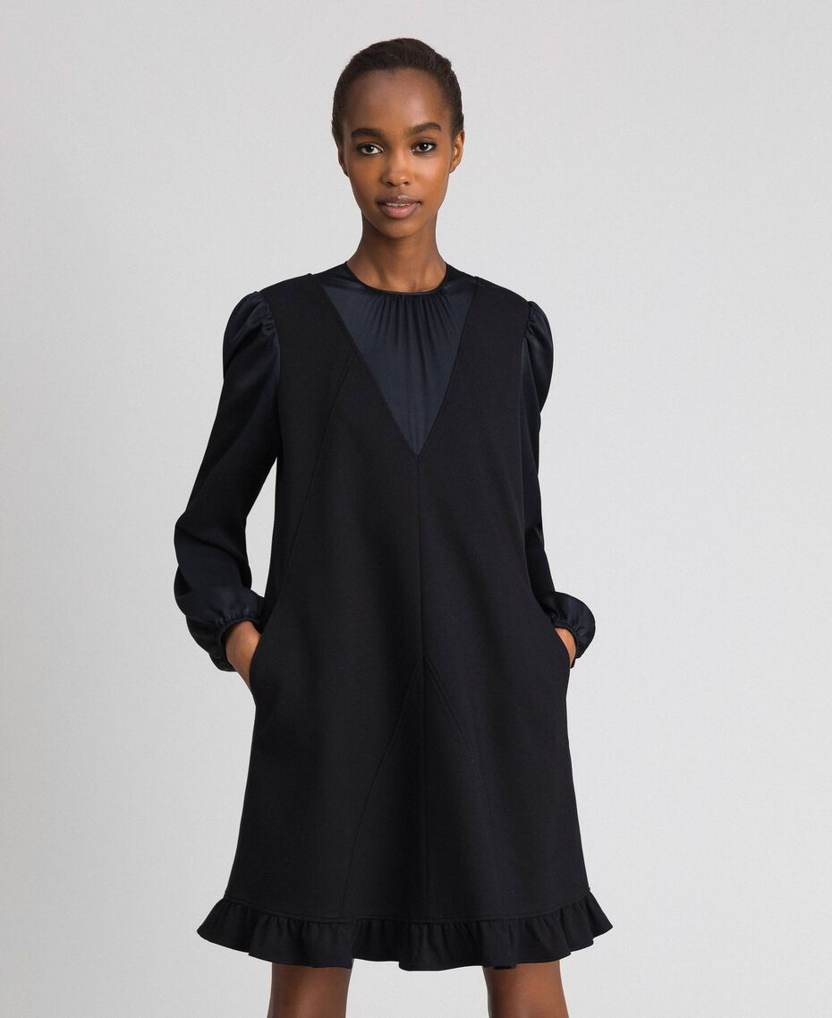 Dress with satin inlays and frill Black Woman 192ST2131-01