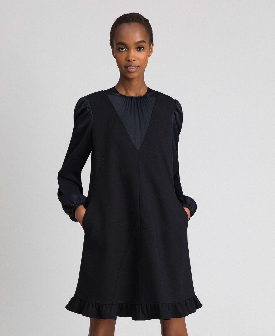 Robe avec insertions en satin et volant Noir Femme 192ST2131-01